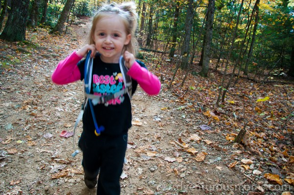 Addie proud at the end of her hike on West Rattlesnake Mountain in Holderness, NH