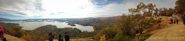 Panoramic view of Squam Lake from West Rattlesnake Mountain in Holderness, NH