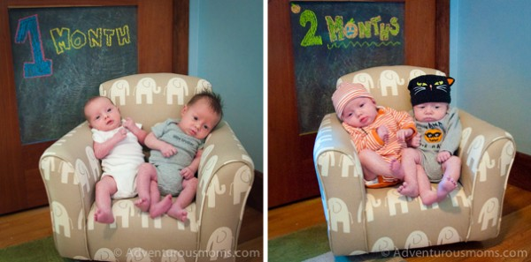 Evan and Kate at 1 month and 2 months.