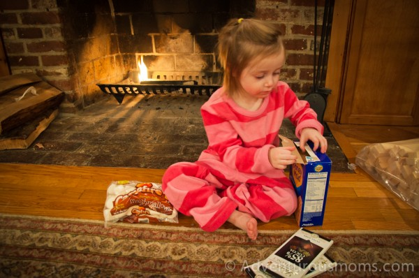 Addie getting ready to make s'mores.