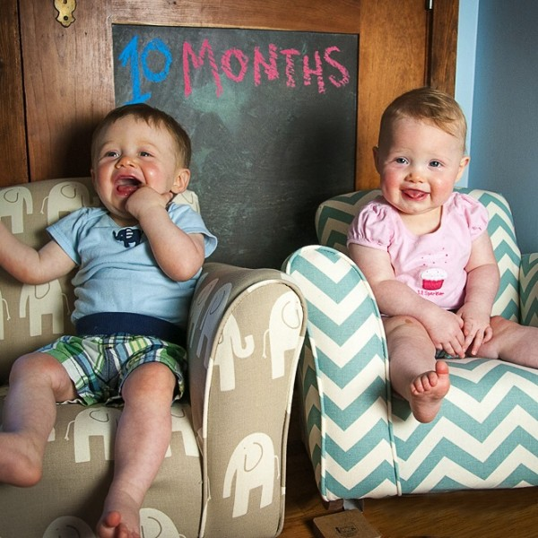 The twins at 10 months