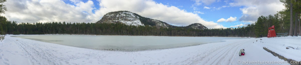 Snowshoeing at Echo Lake State Park in Conway, NH