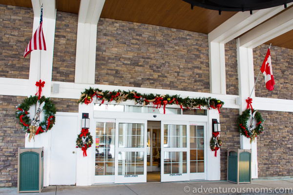 The entrance to the North Conway Grand Hotel in North Conway, New Hampshire